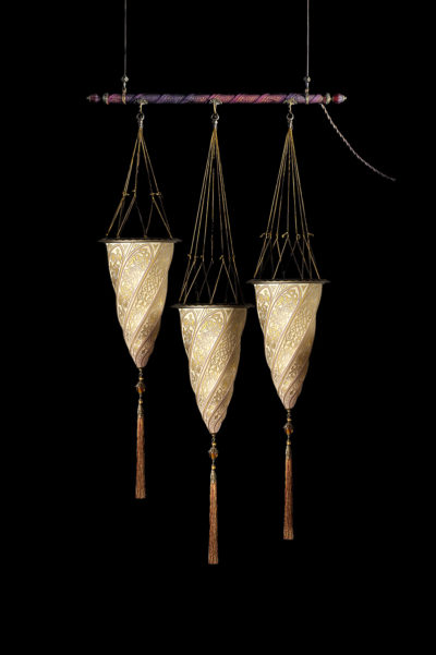 Fortuny Cesendello glass lamp on a rod 3 light points