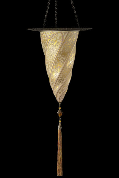 Fortuny Cesendello glass wall gold lamp with metal ring