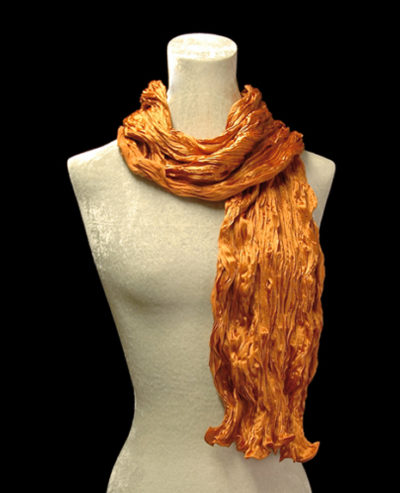 Fortuny crinkled crepe satin orange silk scarf