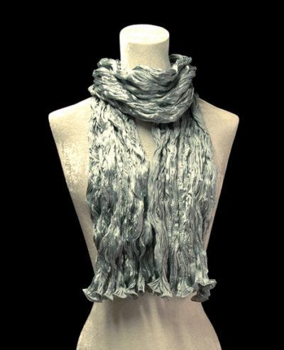 Fortuny crinkled crepe satin silver grey silk scarf
