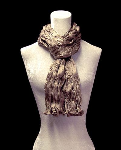 Fortuny crinkled crepe satin smoke brown silk scarf