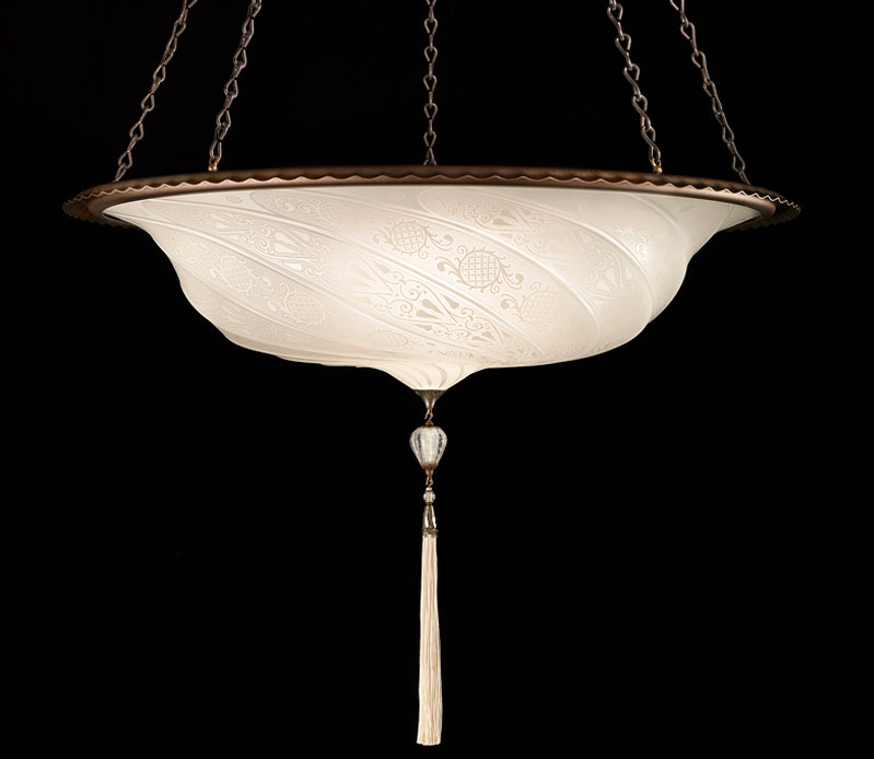 Fortuny Scudo Saraceno glass white lamp