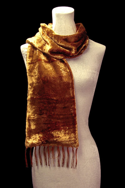 Fortuny tobacco brown furrowed velvet scarf with fringes