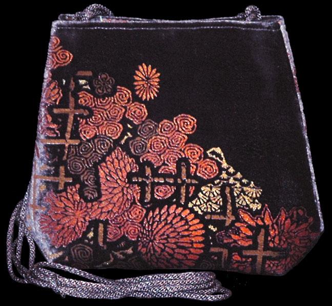 Fortuny Gioia aubergine hand printed velvet bag