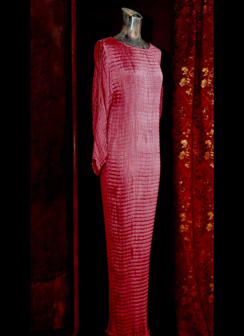 Fortuny Delphos dress in atelier