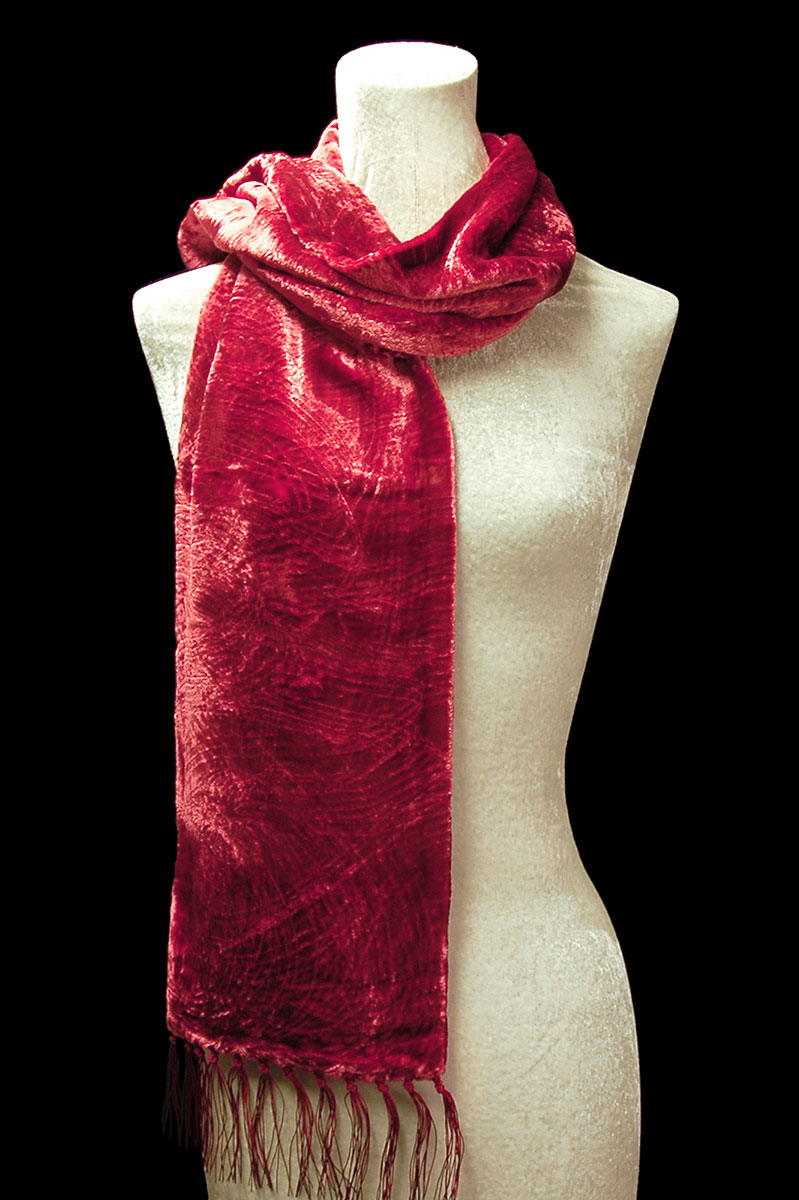 Fortuny carmine red furrowed velvet scarf with fringes