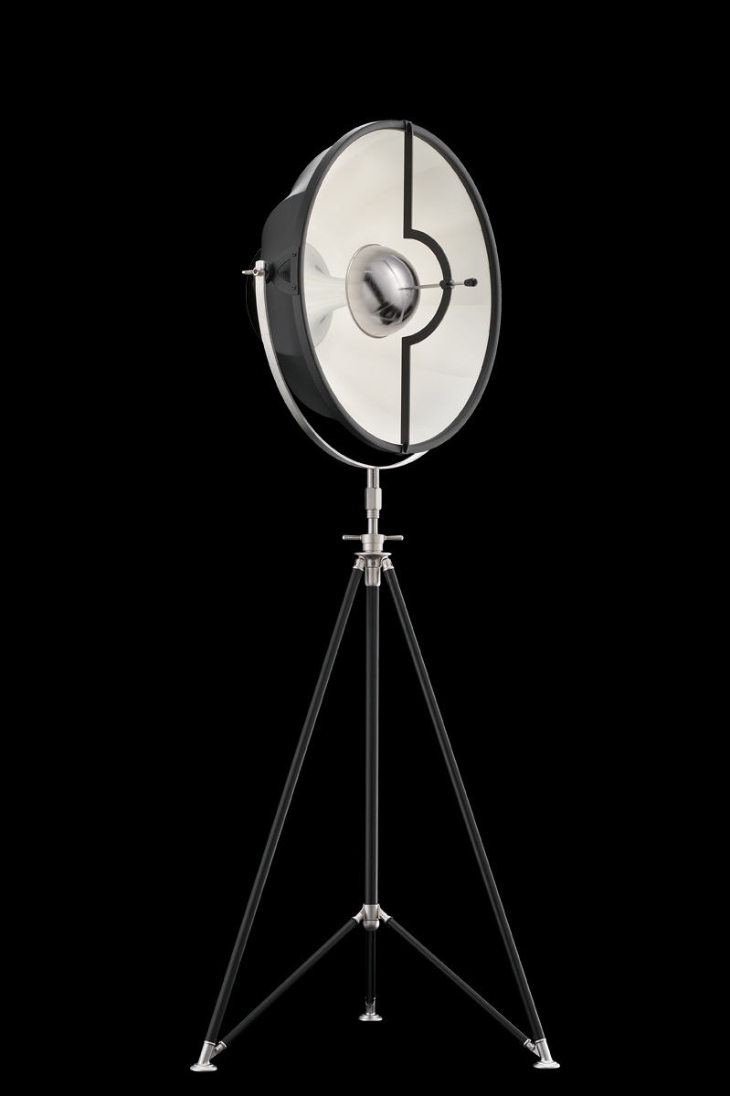 Fortuny Studio 63 floor tripod lamp black & white