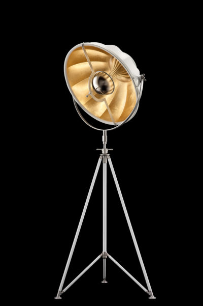 Fortuny Studio 63 floor white & gold lamp with steel tripod