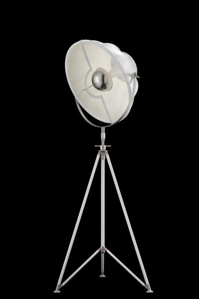 Fortuny Studio 63 floor white lamp with steel tripod
