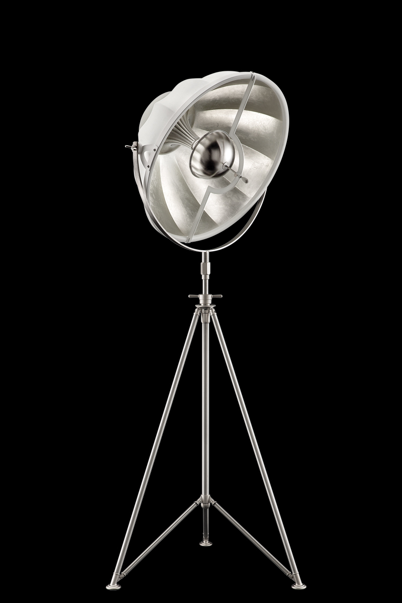 Fortuny Studio 63 floor white & silver lamp with steel tripod