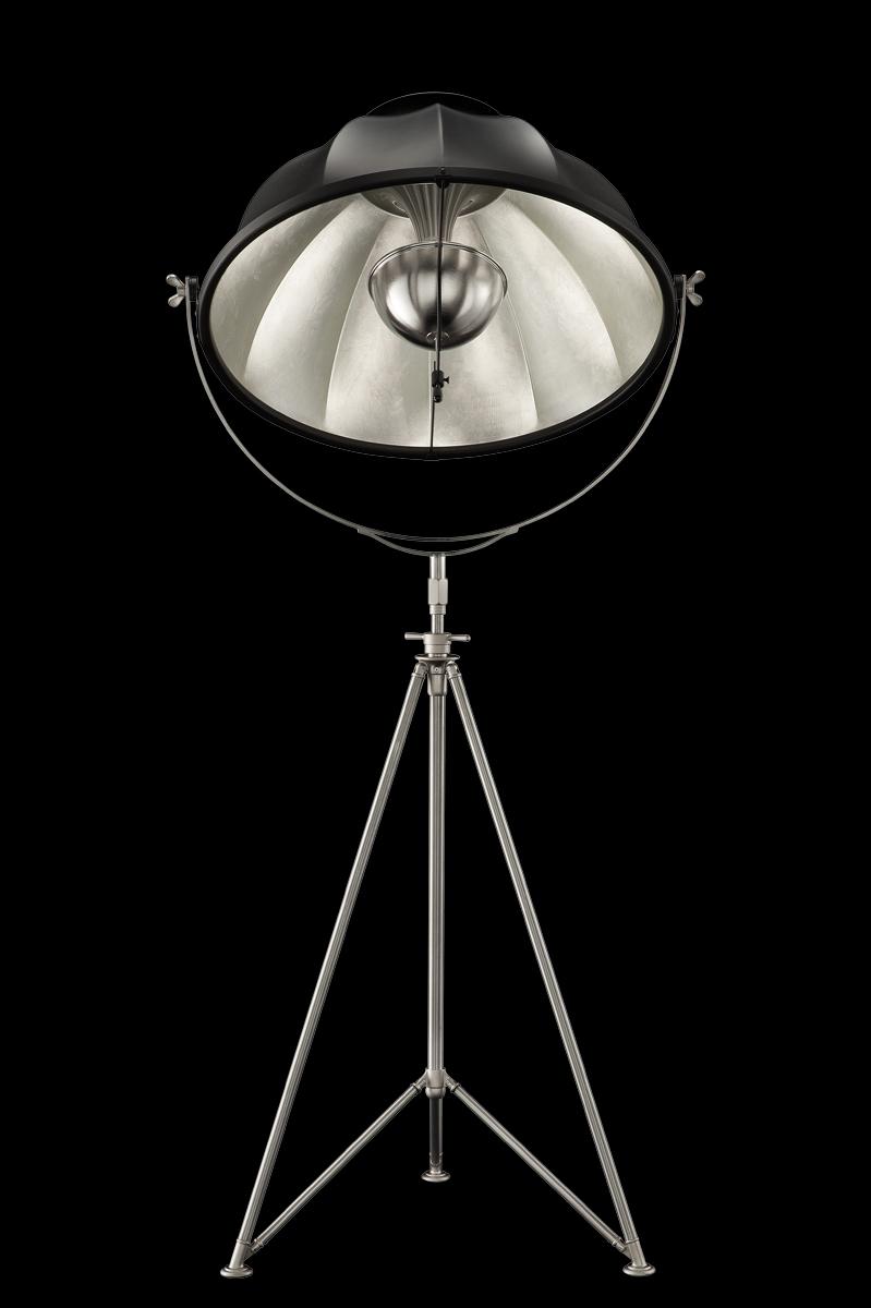Fortuny Studio 76 floor black & silver lamp with steel tripod