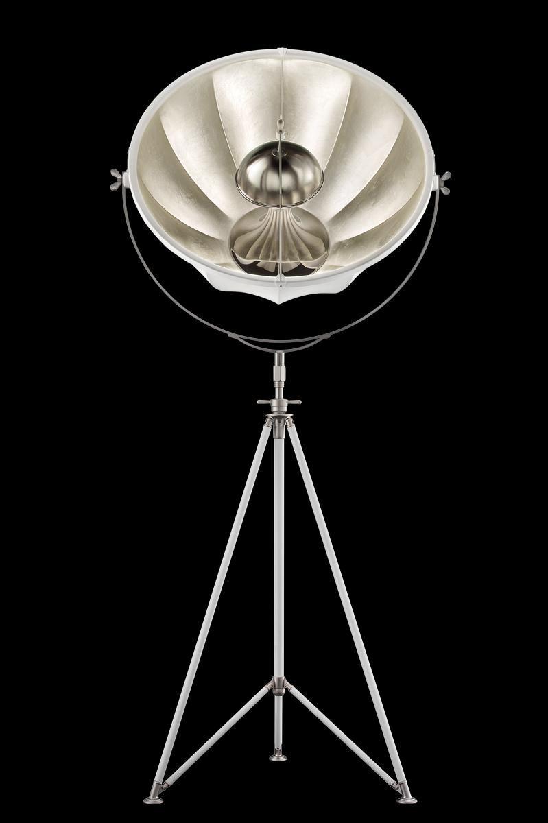 Fortuny Studio 76 floor tripod white & silver lamp