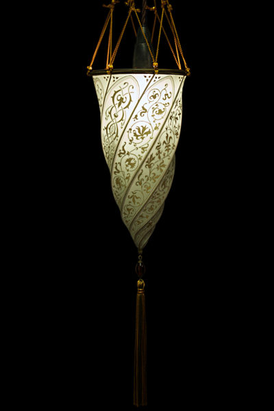 Fortuny Cesendello ceiling or wall sage grey silk lamp