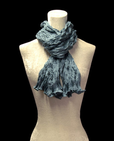 Fortuny crinkled crepe satin dark blue green silk scarf