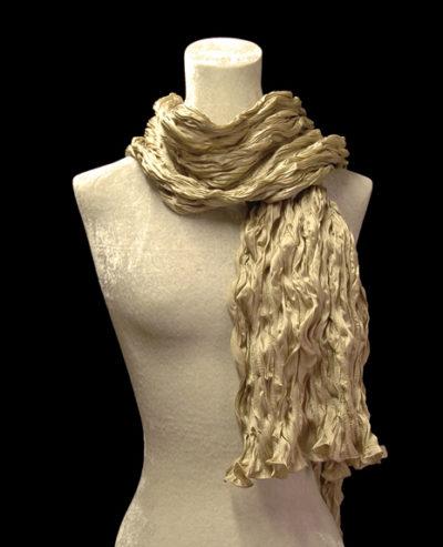 Fortuny crinkled crepe satin golden beige silk scarf