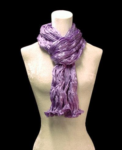 Fortuny crinkled crepe satin lavander silk scarf