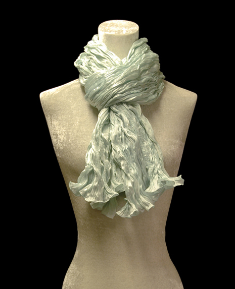 Fortuny crinkled crepe satin opal green silk scarf
