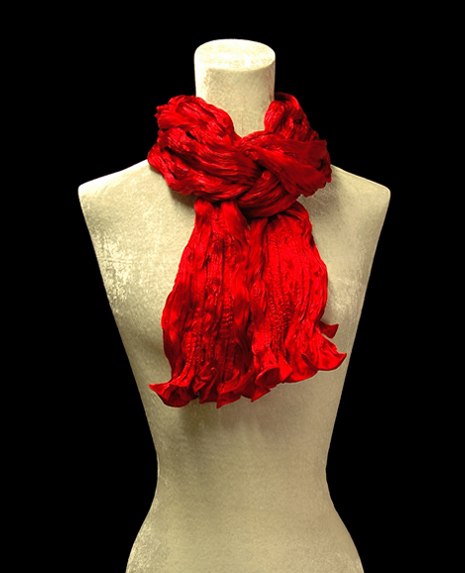 Fortuny crinkled crepe satin red silk scarf