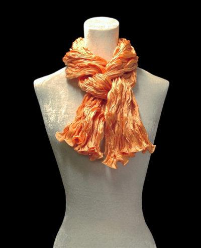 Fortuny crinkled crepe satin silk tangerin orange scarf