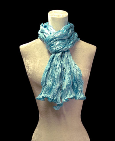 Fortuny crinkled crepe satin turquoise blue silk scarf