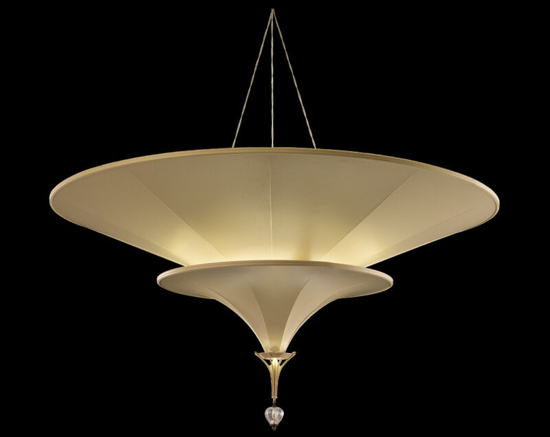 Fortuny Icaro glass fibre 2 tiers ivory lamp