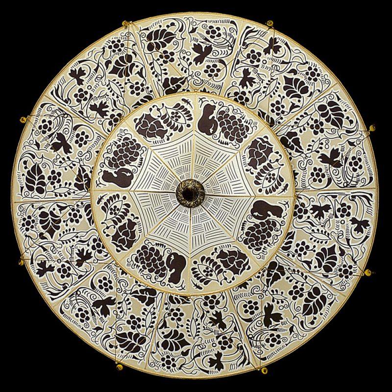 Fortuny Scheherazade 2 tiers brown Floral silk lamp bottom view