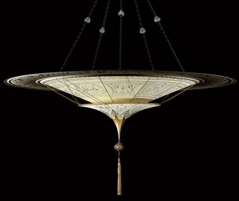 Fortuny Scheherazade 2 tiers Geometric silk lamp with metal ring