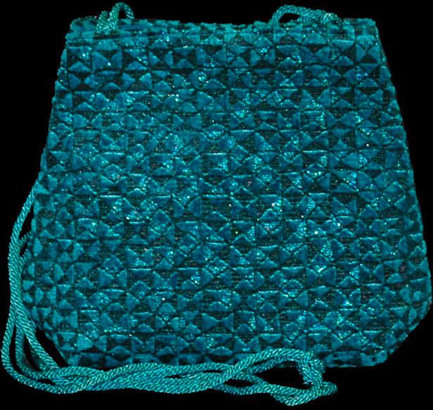 Fortuny Gioia Alessandrino turquoise blue hand printed velvet bag
