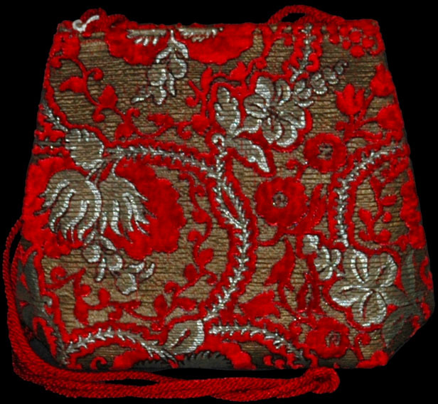 Fortuny Giudecca red hand printed velvet bag