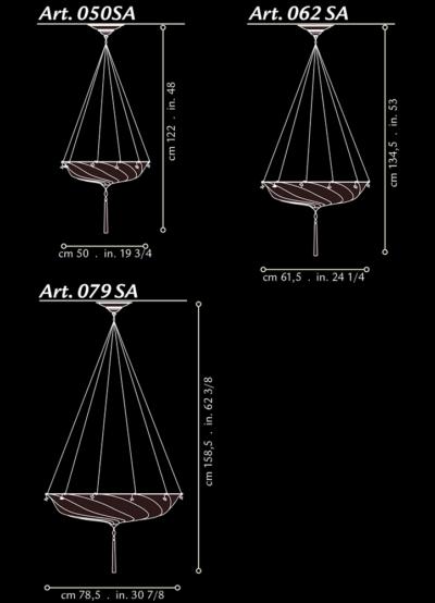 Fortuny Scudo Saraceno silk lamp dimensions