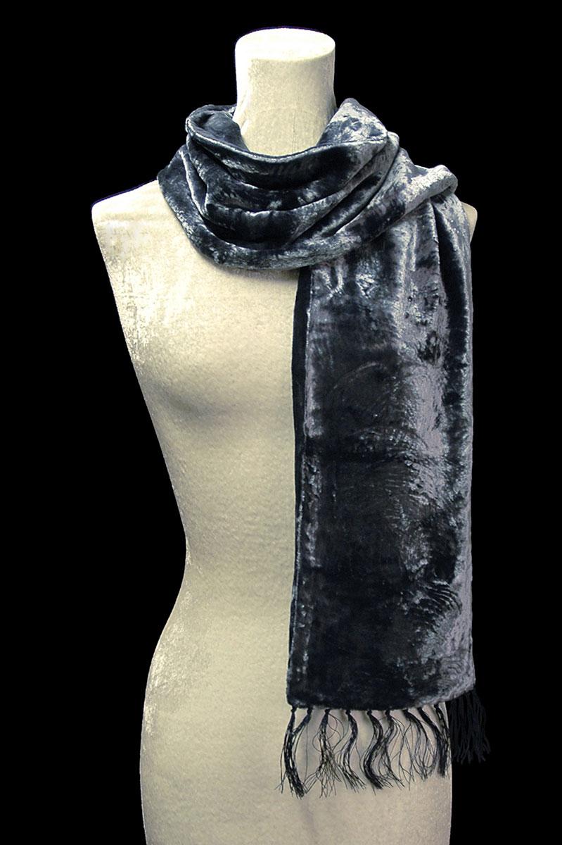 Fortuny blue grey furrowed velvet scarf with fringes