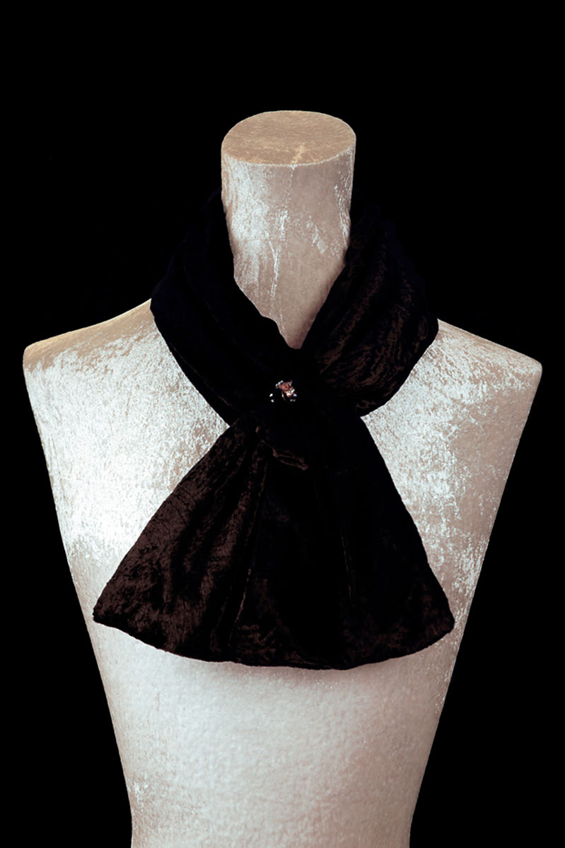 Fortuny black furrowed velvet scarf with Murano glass beads