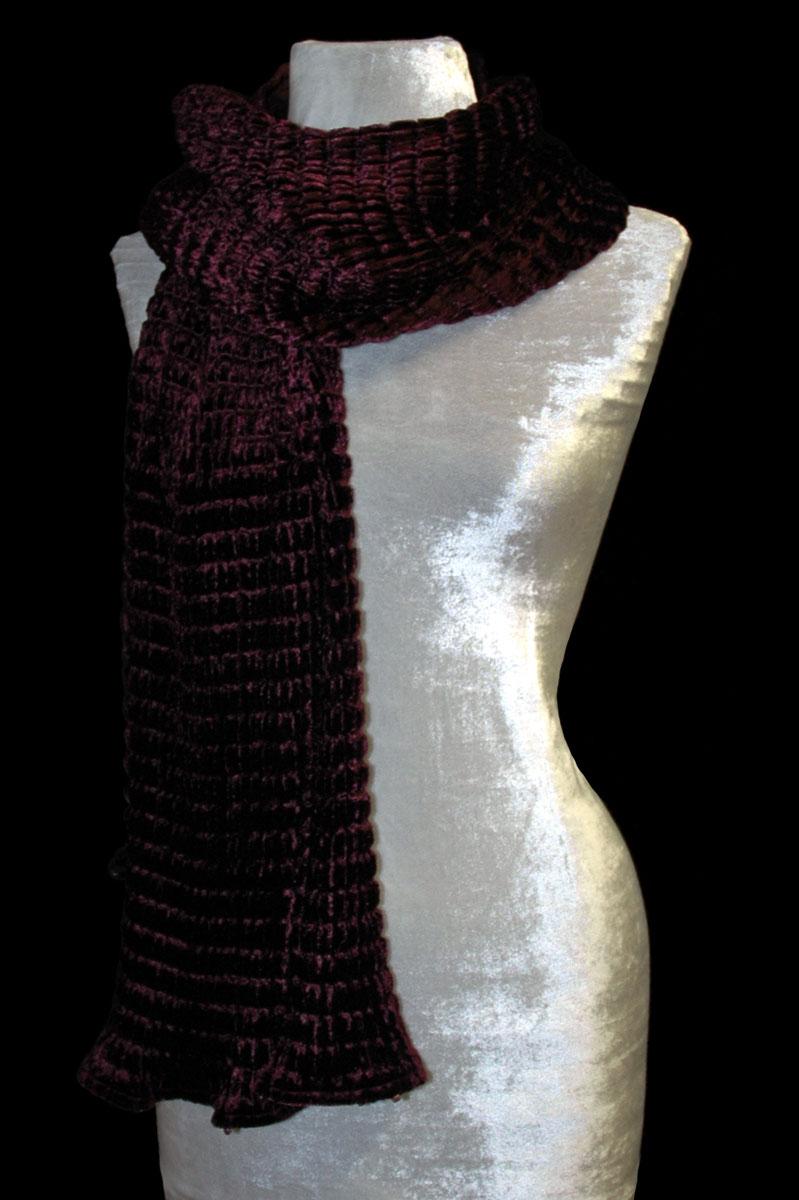 Fortuny dark plum pleated velvet scarf