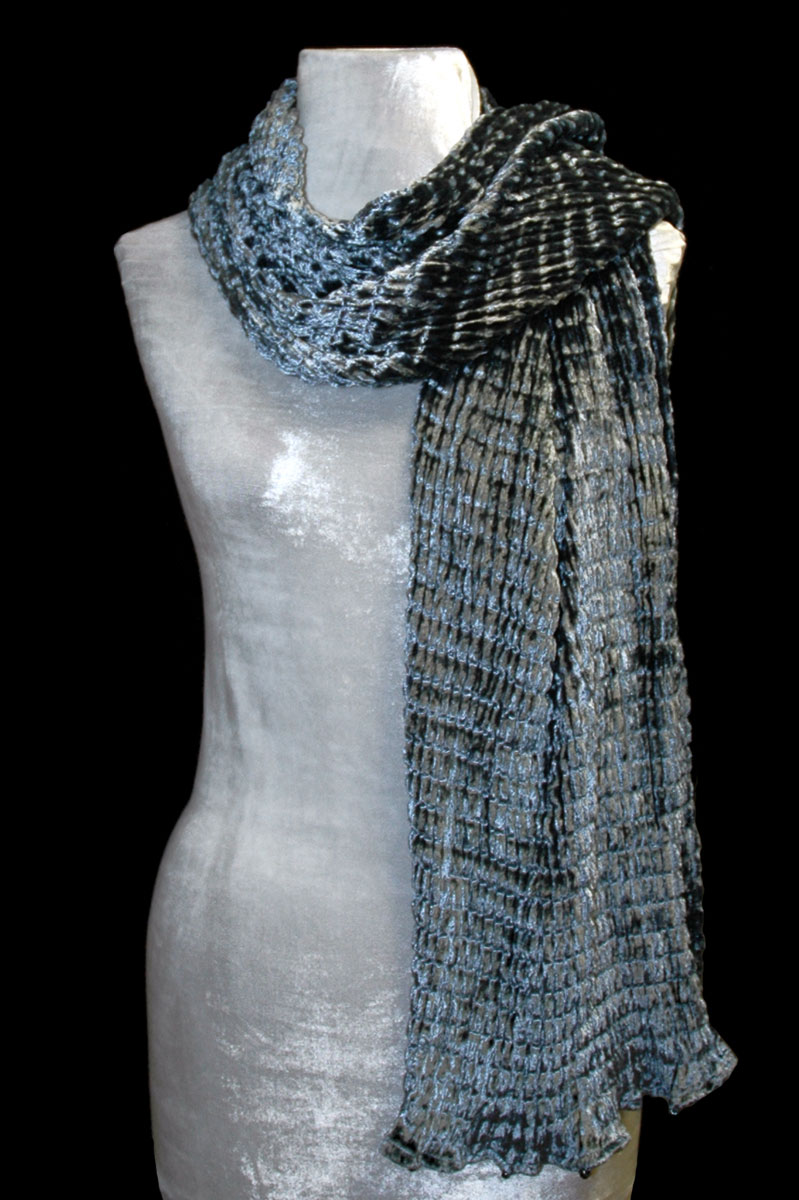 Fortuny silver grey pleated velvet scarf