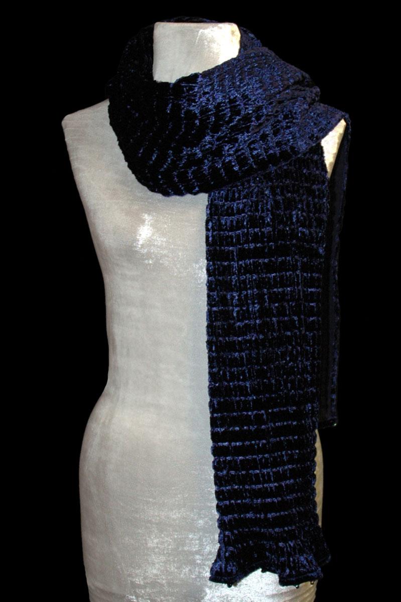 Fortuny blu biro pleated velvet scarf
