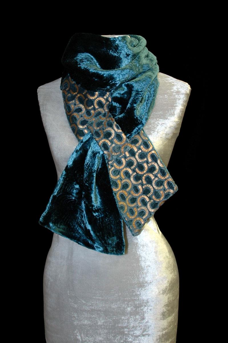 Fortuny blue printed velvet scarf