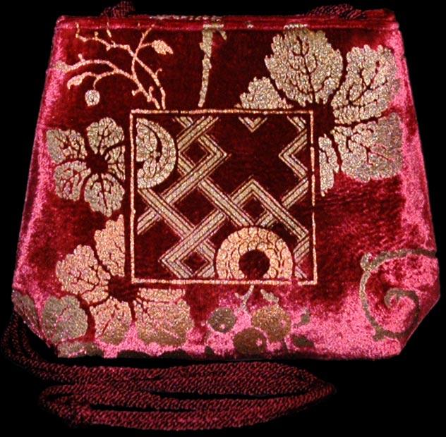 Fortuny Gioia bordeaux hand printed velvet bag