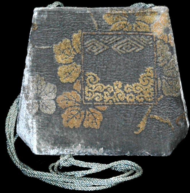 Fortuny Gioia grey hand printed velvet bag