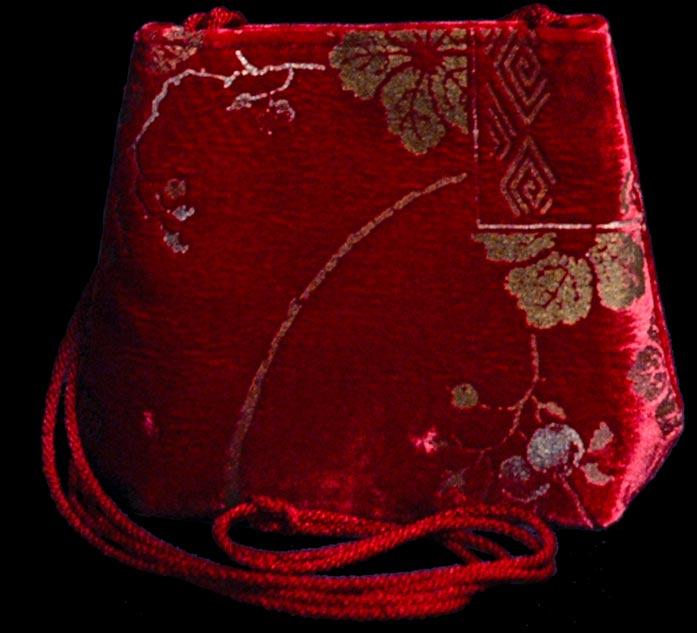 Fortuny Gioia red hand printed velvet bag