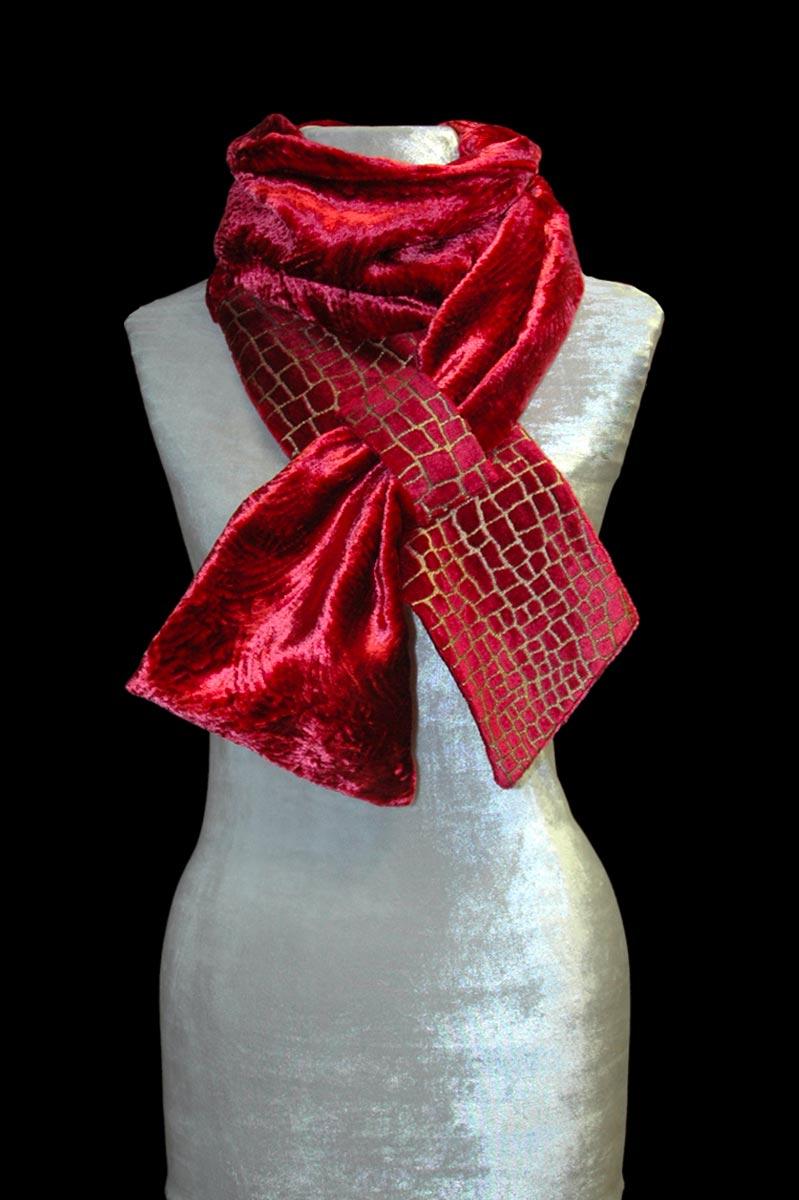 Fortuny carmine red printed velvet scarf