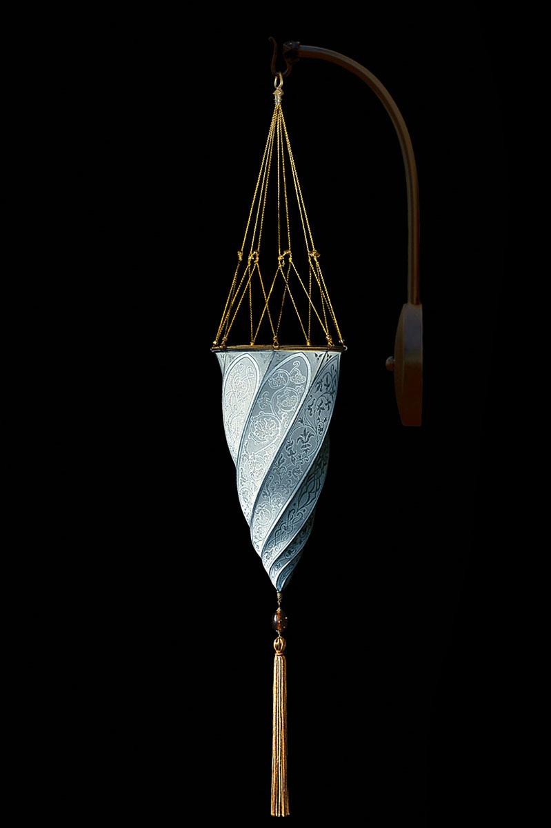 Fortuny Cesendello Classic light blue silk arc-wall lamp