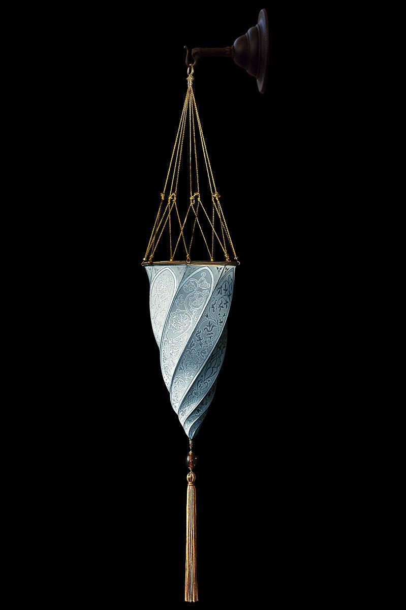 Fortuny Cesendello plain light blue silk wall lamp