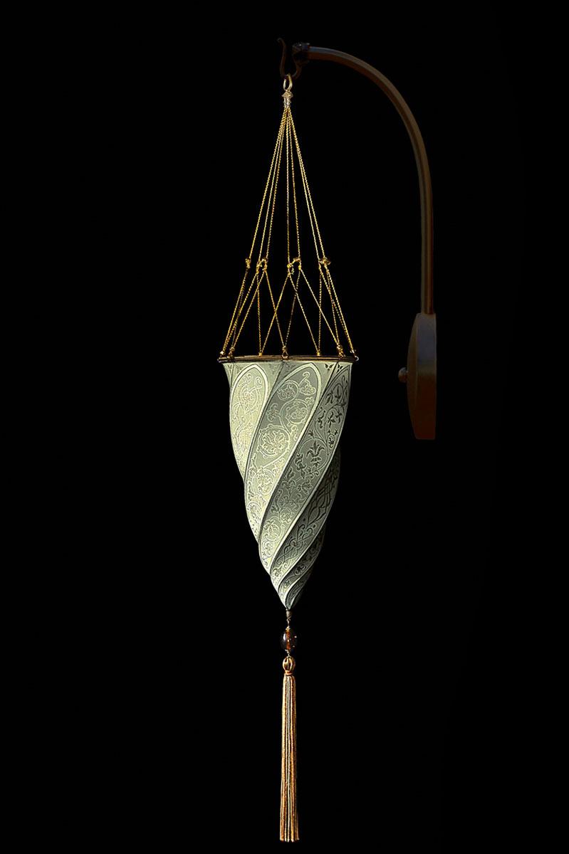 Fortuny Cesendello Classic sage grey silk arc-wall lamp