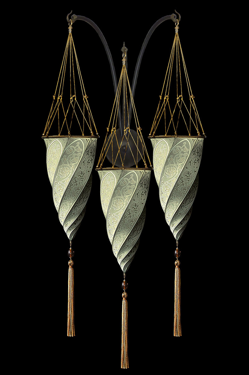 Fortuny Cesendello Classic sage grey silk triple arc-wall lamp