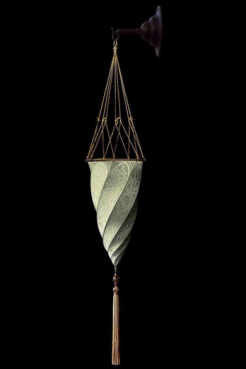 Fortuny Cesendello Classic sage grey silk wall lamp
