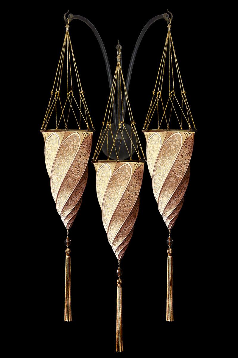 Fortuny Cesendello Classic salmon  silk triple arc-wall lamp