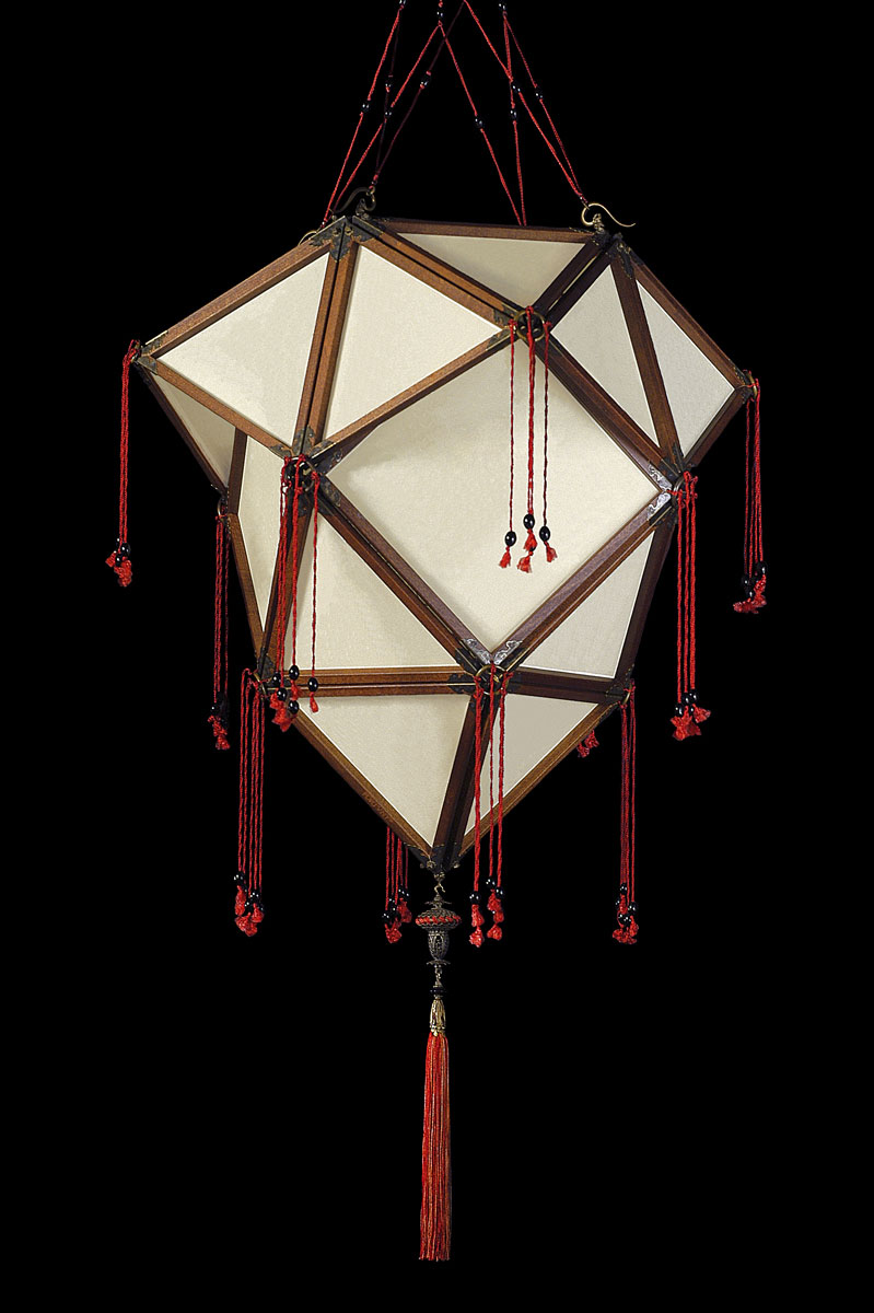 Fortuny Concubine Proibita plain silk lamp with wooden structure