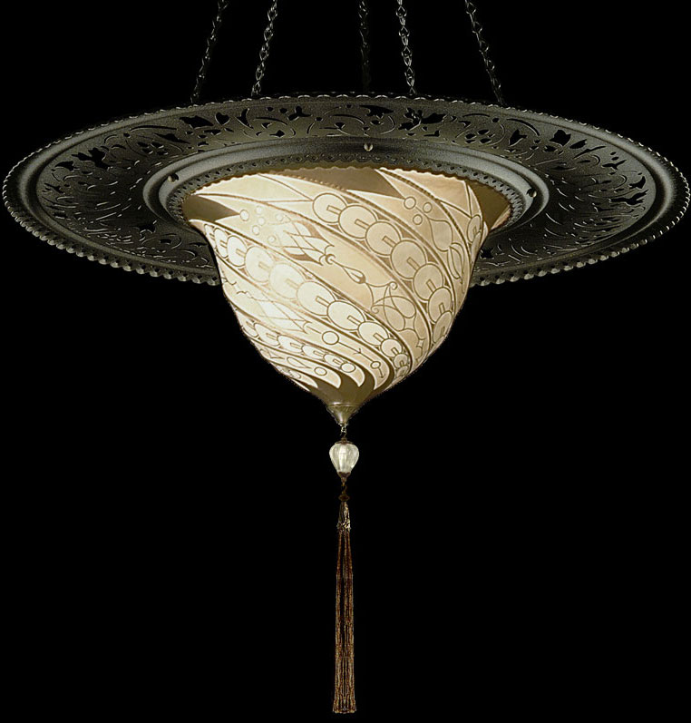 Fortuny Samarkanda Decò silk lamp with metal ring