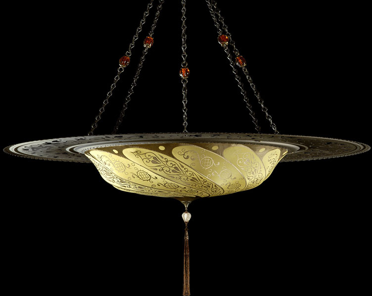 Fortuny Scudo Saraceno Classic yellow ochre silk lamp with metal ring