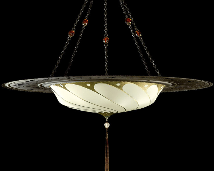 Fortuny Scudo Saraceno Plain ivory silk lamp with metal ring